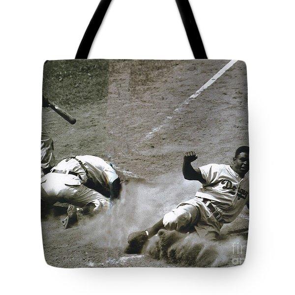 Jackie Robinson Sliding Home Tote Bag