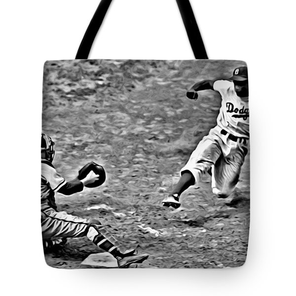 Jackie Robinson Stealing Home Tote Bag
