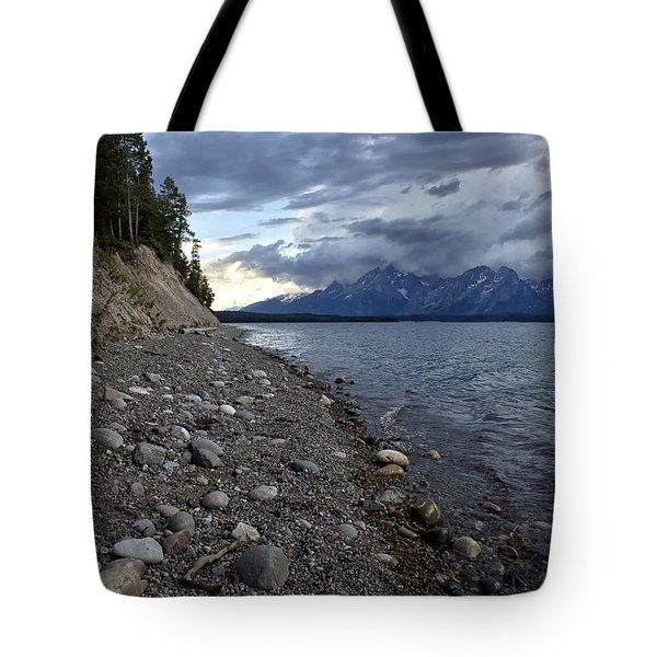 Tote Bag featuring the photograph Jackson Lake Shore With Grand Tetons by Belinda Greb