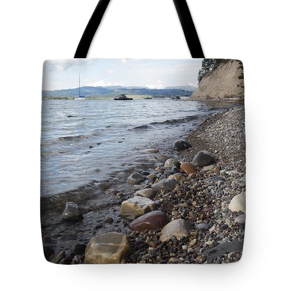 Tote Bag featuring the photograph Jackson Lake With Boats by Belinda Greb