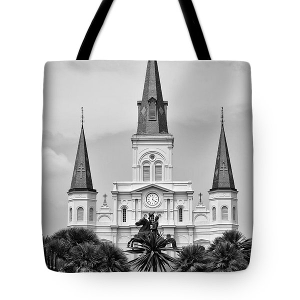 Jackson Square In Black And White Tote Bag by Bill Cannon