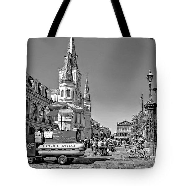 Jackson Square Monochrome Tote Bag by Steve Harrington