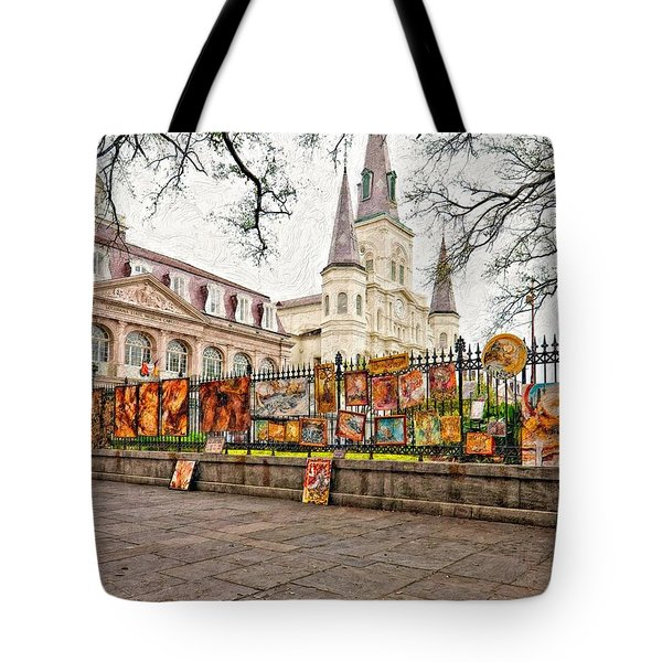 Jackson Square Winter Impasto Tote Bag
