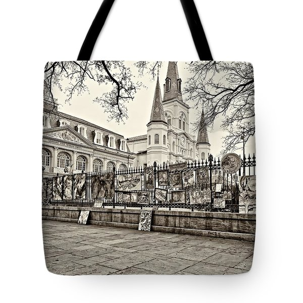 Jackson Square Winter Sepia Tote Bag