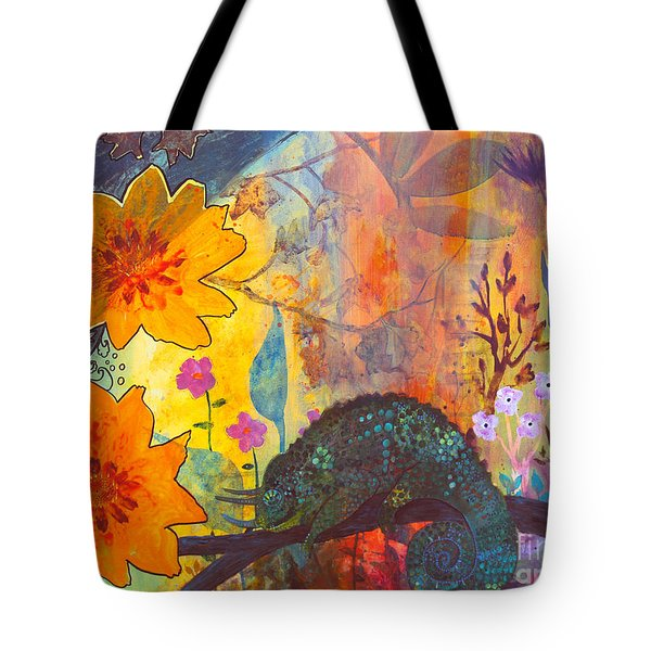 Tote Bag featuring the painting Jackson's Chameleon by Robin Maria Pedrero