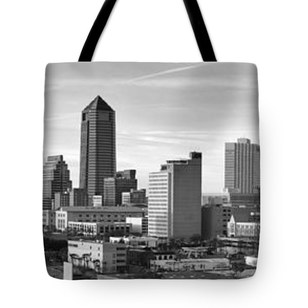 Tote Bag featuring the photograph Jacksonville Skyline Morning Day Black And White Bw Panorama Florida by Jon Holiday