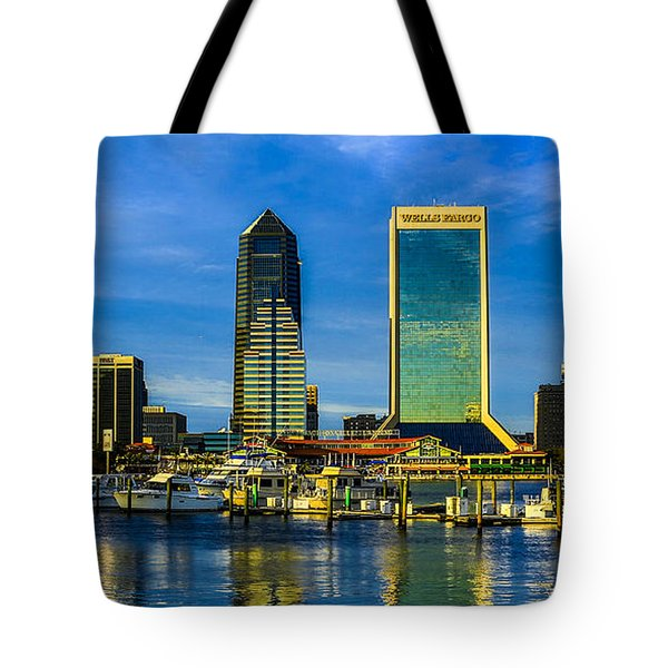 Jacksonville Skyline Sunset Tote Bag