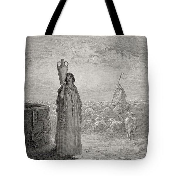 Jacob Keeping Laban's Flock Tote Bag by Gustave Dore
