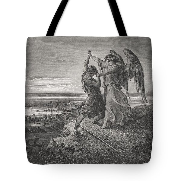 Jacob Wrestling With The Angel Tote Bag by Gustave Dore