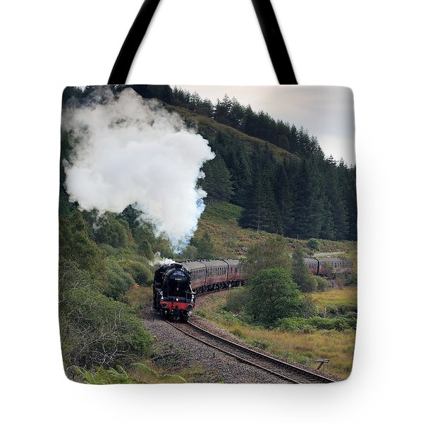 Tote Bag featuring the photograph Jacobite Steam Train by Maria Gaellman