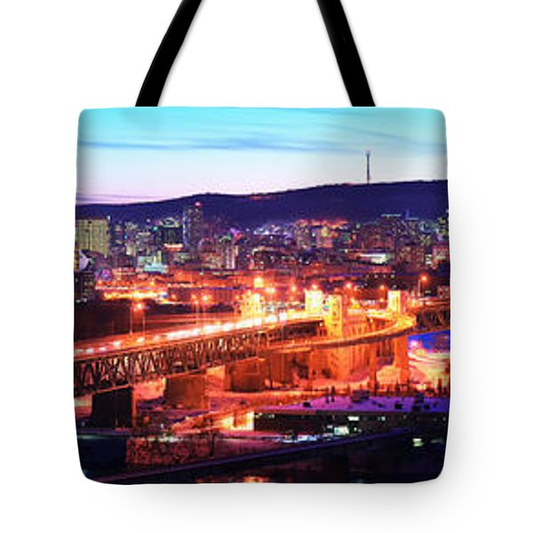 Jacques Cartier Bridge With City Lit Tote Bag
