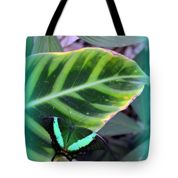 Jade Butterfly With Vignette Tote Bag by Carla Parris