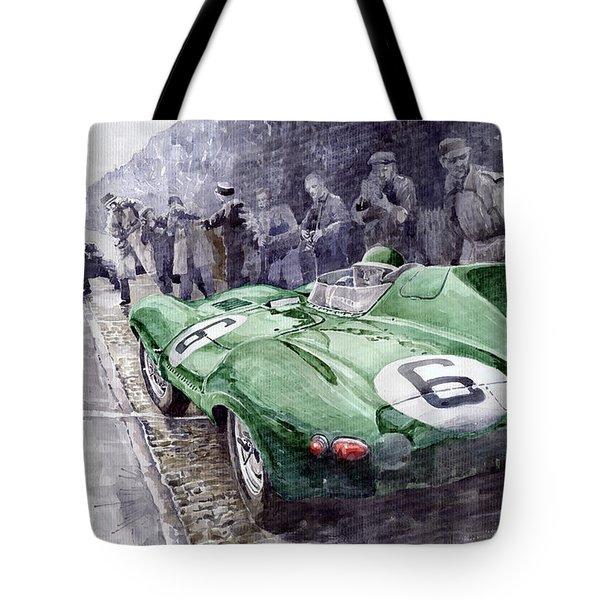 Jaguar D-type  1955 Le Mans  Tote Bag by Yuriy Shevchuk