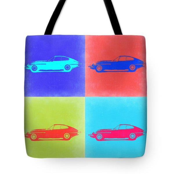 Jaguar E Type Pop Art 2 Tote Bag