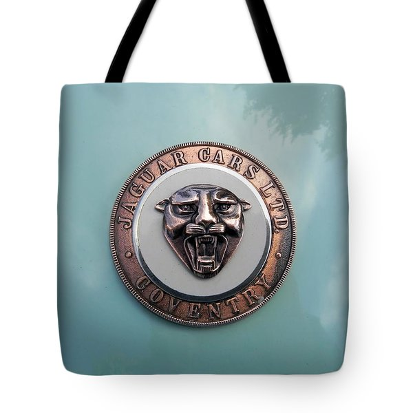 Tote Bag featuring the photograph Jaguar Hood Emblem by Cheryl Hoyle