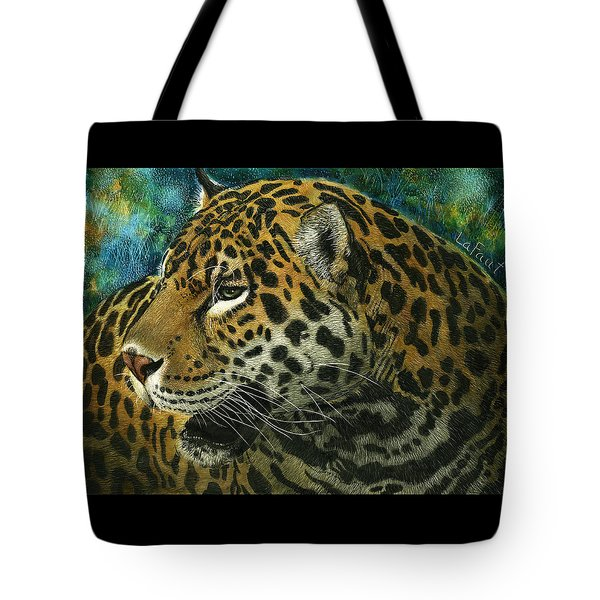 Tote Bag featuring the mixed media Jaguar by Sandra LaFaut