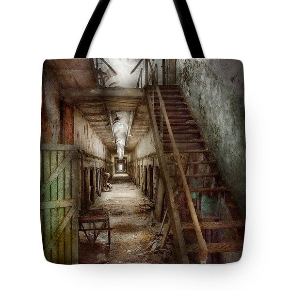 Jail - Eastern State Penitentiary - Down A Lonely Corridor Tote Bag by Mike Savad