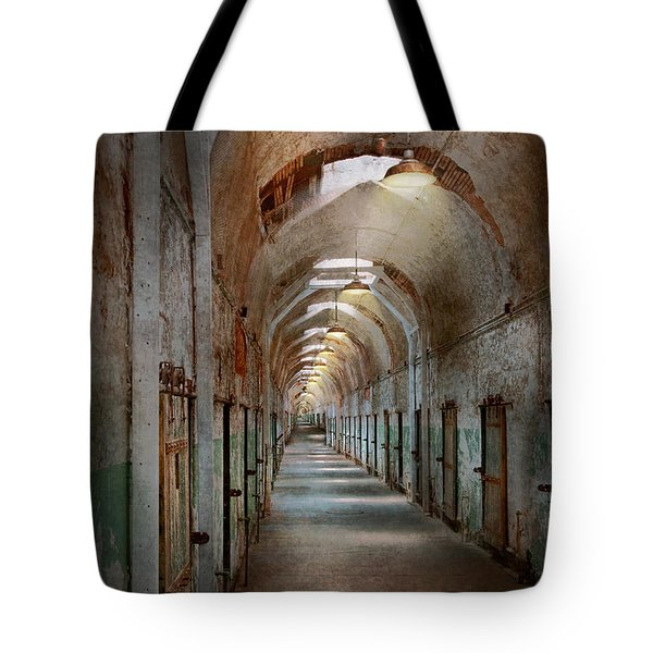 Jail - Eastern State Penitentiary - Endless Torment Tote Bag by Mike Savad