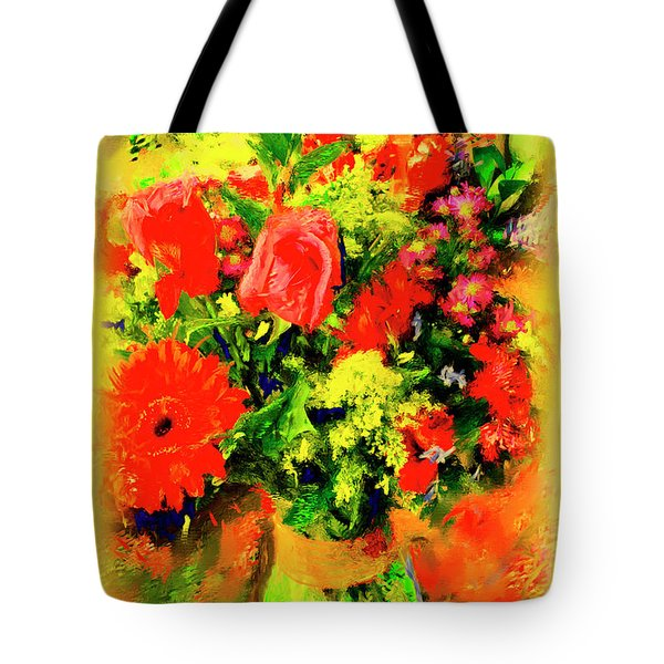 Tote Bag featuring the painting J'aime Le Bouquet by Ted Azriel
