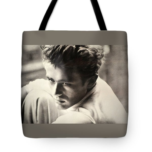 James Dean Black And White Tote Bag by Jay Milo