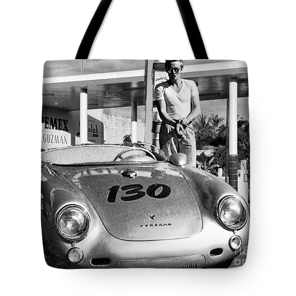James Dean Filling His Spyder With Gas Black And White Tote Bag by Doc Braham