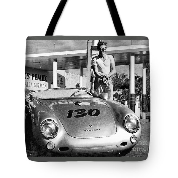 James Dean Filling His Spyder With Gas Black And White Tote Bag