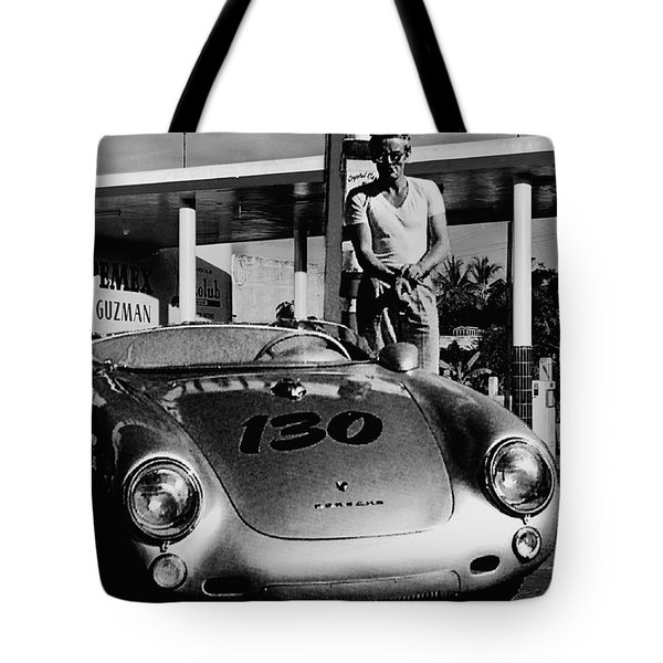 James Dean Filling His Spyder With Gas In Black And White Tote Bag by Doc Braham