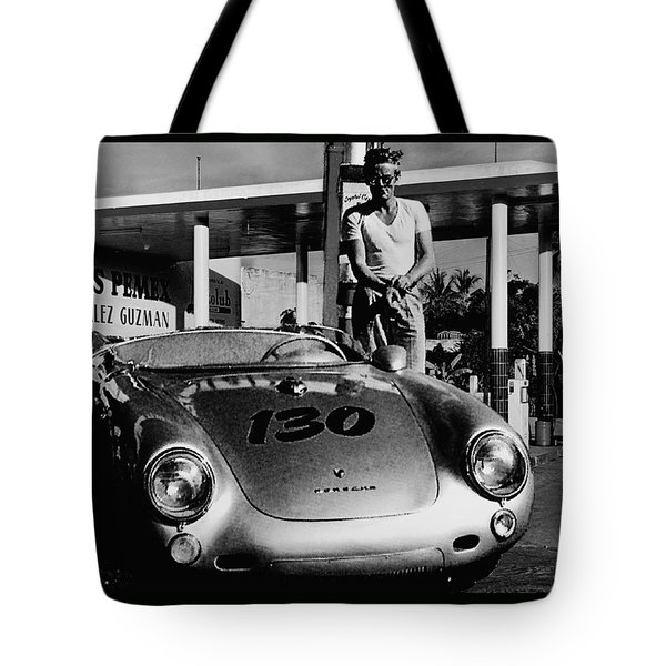 James Dean Filling His Spyder With Gas In Black And White Tote Bag