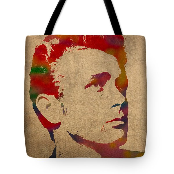 James Dean Watercolor Portrait On Worn Distressed Canvas Tote Bag by Design Turnpike