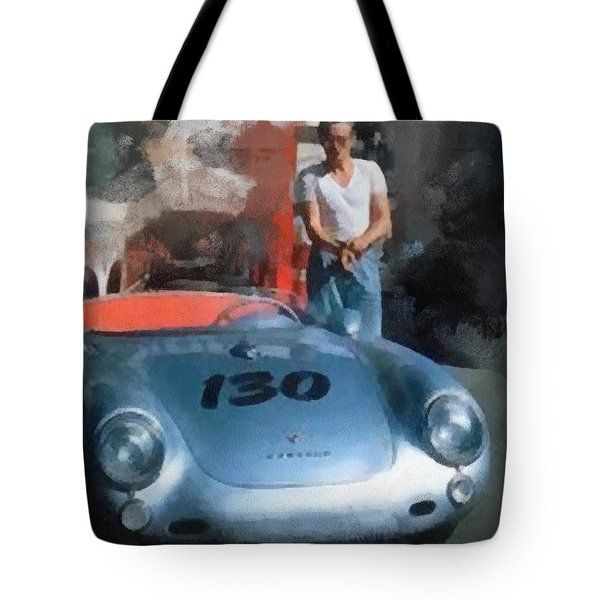 James Dean With His Spyder Tote Bag