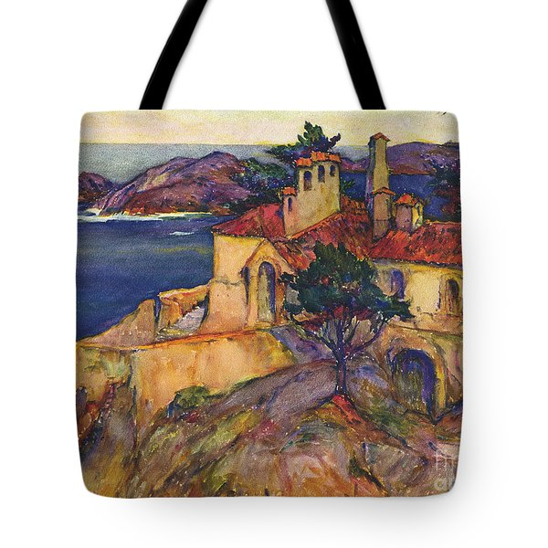 James House Carmel Highlands California By Rowena Meeks Abdy 1887-1945  Tote Bag by California Views Mr Pat Hathaway Archives
