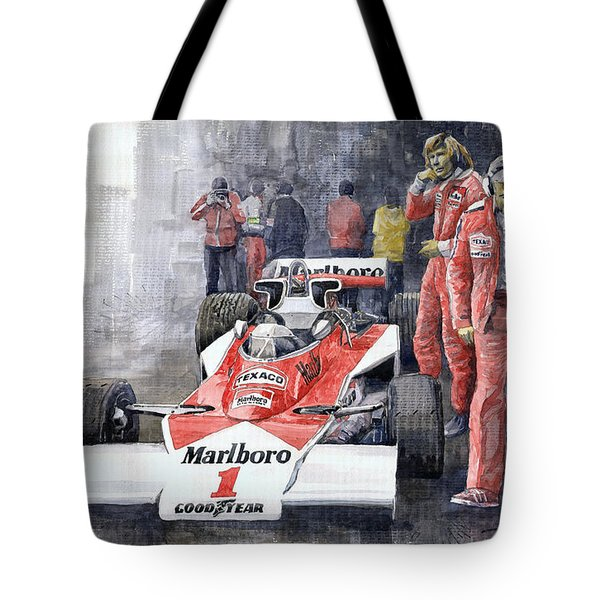 James Hunt Monaco Gp 1977 Mclaren M23 Tote Bag