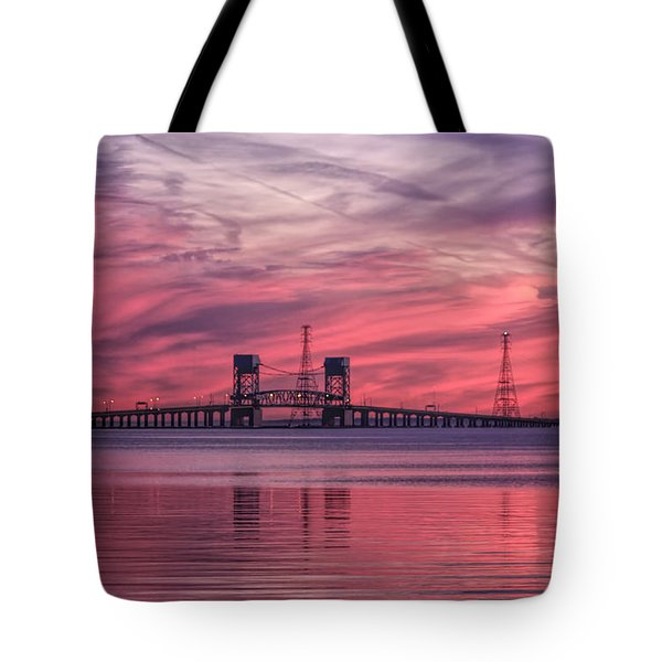 James River Bridge At Sunset Tote Bag