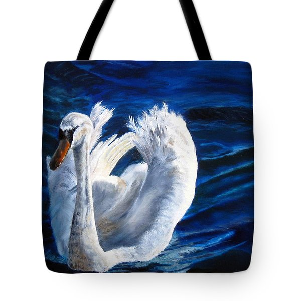 Tote Bag featuring the painting Jamie's Swan by LaVonne Hand