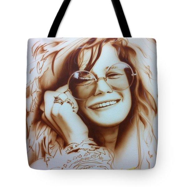 Janis Joplin - ' Janis ' Tote Bag by Christian Chapman Art