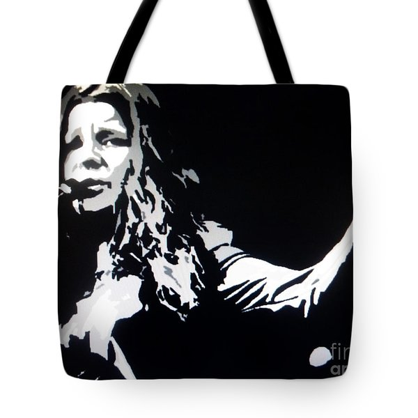 Janis Joplin Pop Art Tote Bag by Ryszard Sleczka