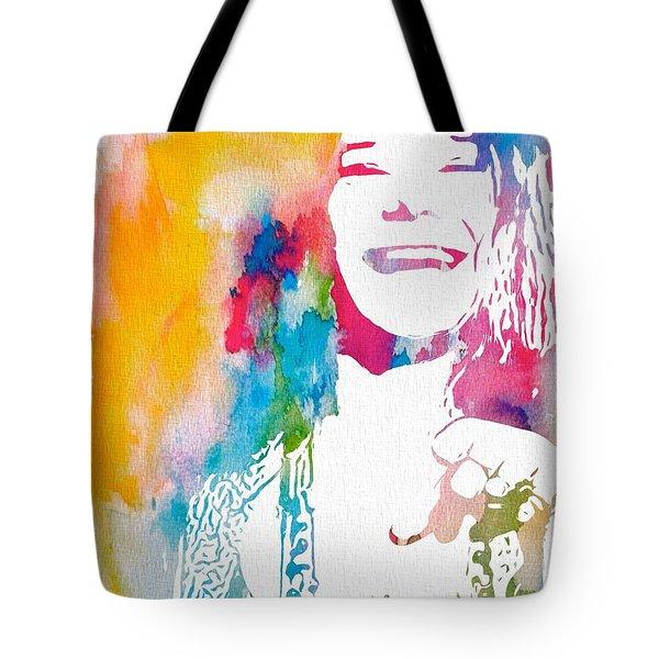 Janis Joplin Watercolor Tote Bag