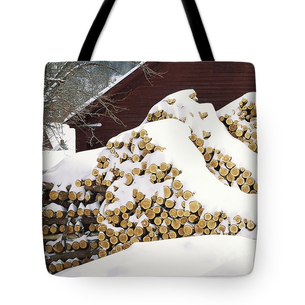 Tote Bag featuring the photograph January Woodpile by Alan L Graham