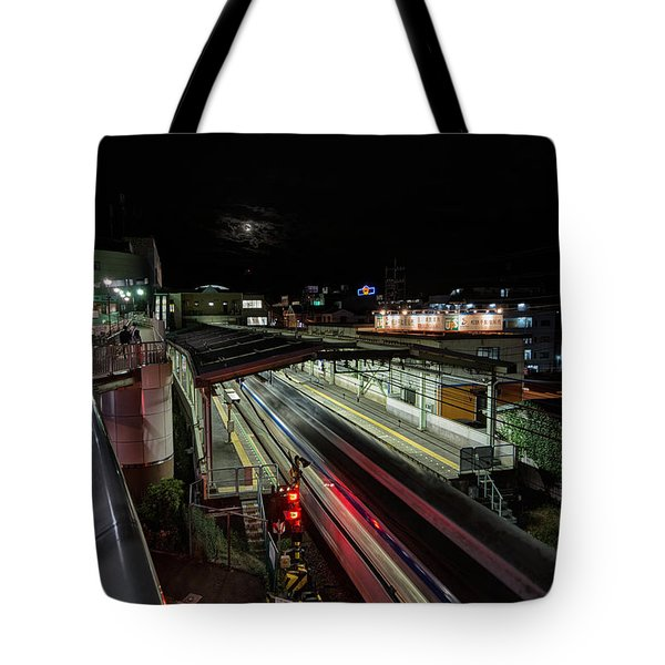 Japan Train Night Tote Bag