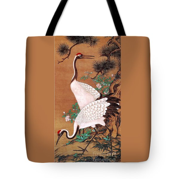 Japanese Cranes Tote Bag by Roberto Prusso