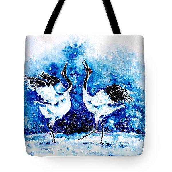 Japanese Cranes Tote Bag by Zaira Dzhaubaeva