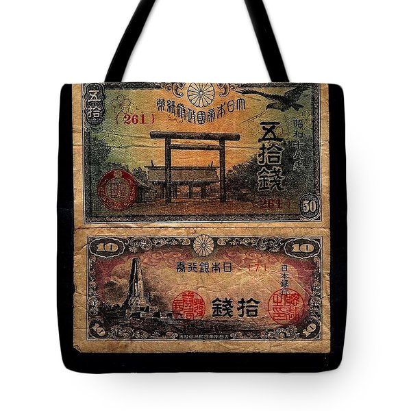 Japanese Currency From World War II Tote Bag