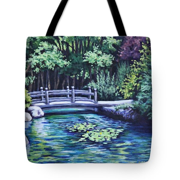 Tote Bag featuring the painting Japanese Garden Bridge San Francisco California by Penny Birch-Williams