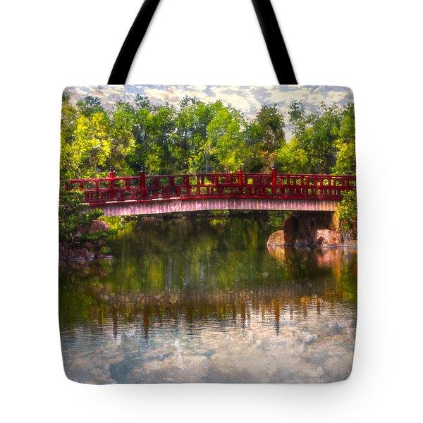 Japanese Gardens Bridge Tote Bag by Debra and Dave Vanderlaan