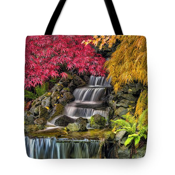 Japanese Laced Leaf Maple Trees In The Fall Tote Bag by David Gn
