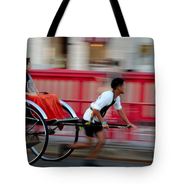 Japanese Tourists Ride Rickshaw In Tokyo Japan Tote Bag