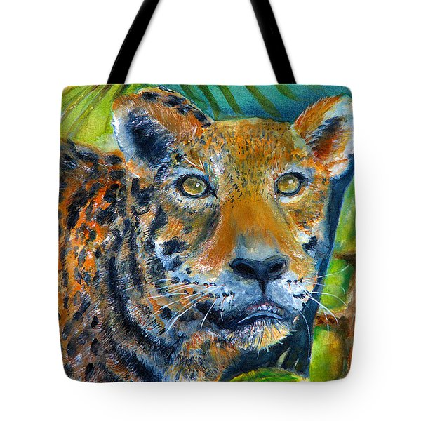 Tote Bag featuring the painting Jaquar On The Prowl by Bernadette Krupa