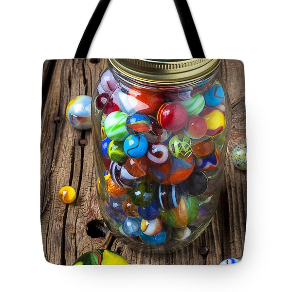 Jar Of Marbles With Shooter Tote Bag by Garry Gay