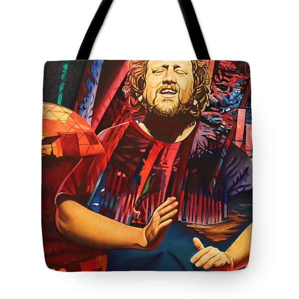 Tote Bag featuring the painting Jason Hann At Horning's Hideout by Joshua Morton
