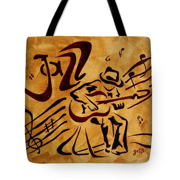 Tote Bag featuring the painting Jazz Abstract Coffee Painting by Georgeta  Blanaru